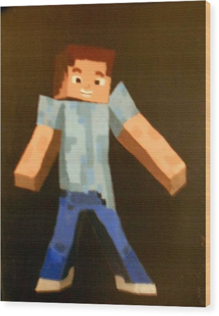Minecraft Steve Wood Print