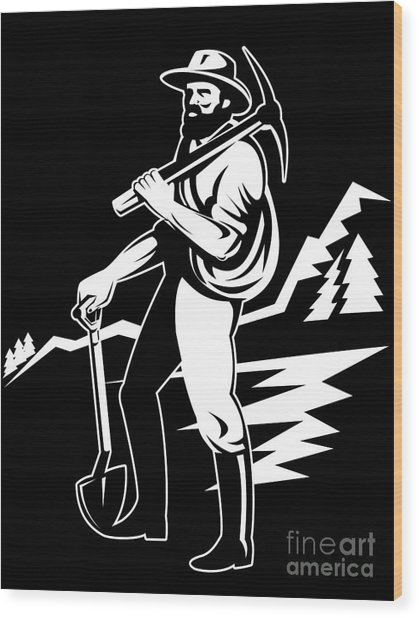 Miner With Pick Axe And Shovel  Wood Print by Aloysius Patrimonio