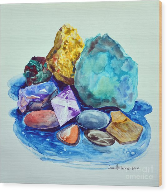 Minerals And Beachstones Wood Print