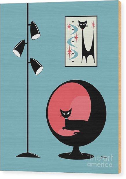 Mini Atomic Cat On Turquoise Wood Print