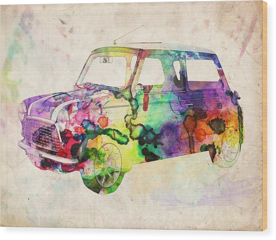 Mini Cooper Urban Art Wood Print