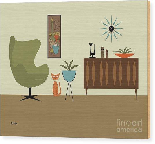 Mini Gravel Art With Orange Cat Wood Print