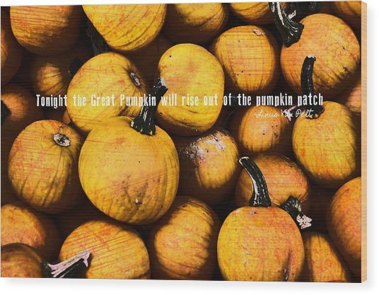 Mini Pumpkin Patch Quote Wood Print by JAMART Photography