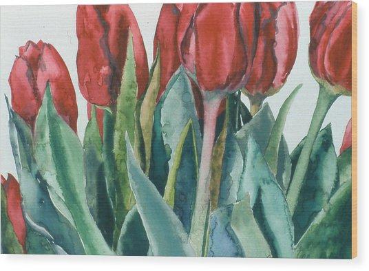 Mini-valentine Tulips - 2 Wood Print by Caron Sloan Zuger