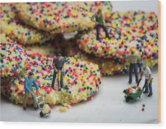 Miniature Construction Workers On Sprinkle Cookies Wood Print