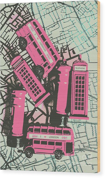 Miniature London Town Wood Print