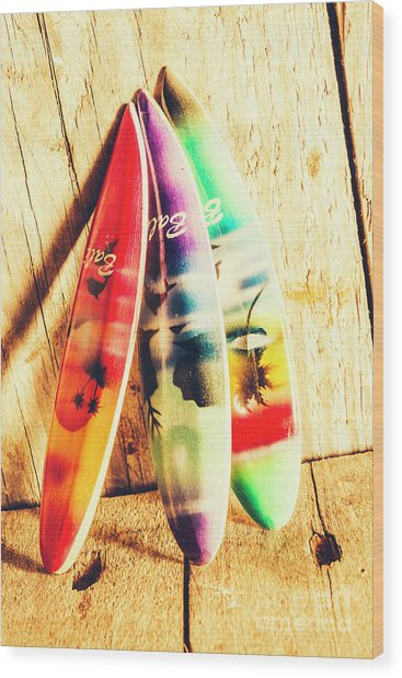 Miniature Surfboard Decorations Wood Print