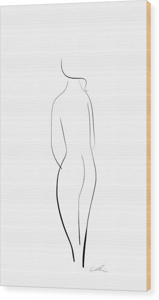 Minimal Line Drawing Of A Nude Woman Wood Print