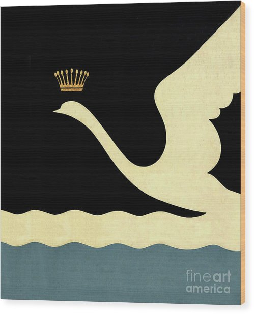 Minimalist Swan Queen Flying Crowned Swan Wood Print