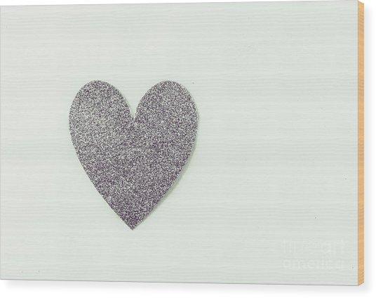 Minimalistic Silver Glitter Heart Wood Print