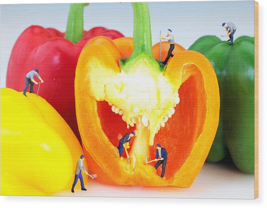 Mining In Colorful Peppers Wood Print
