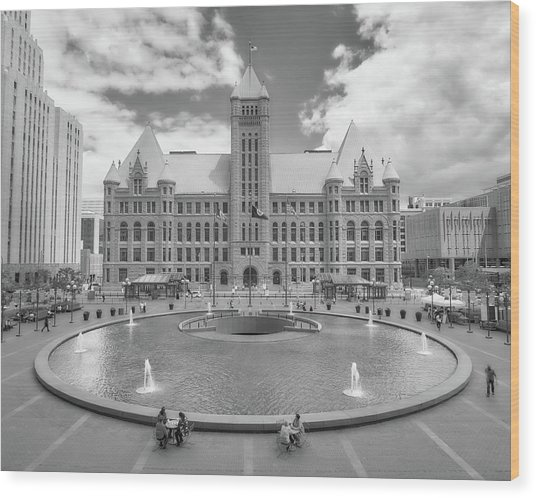 Minneapolis City Hall From Hennepin County Government Center Wood Print
