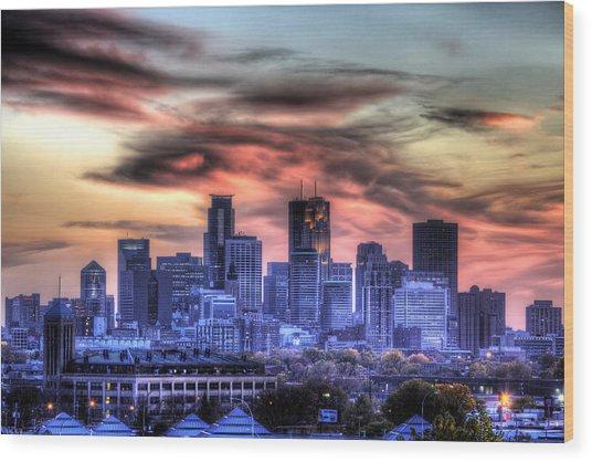 Minneapolis Skyline Autumn Sunset Wood Print