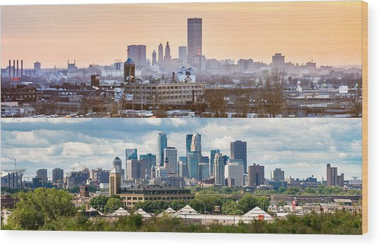 Minneapolis Skylines - Old And New Wood Print