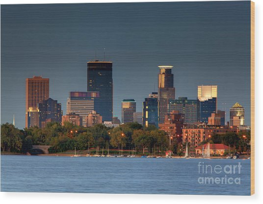Minneapolis Skyline Photography Lake Calhoun Summer Evening Wood Print