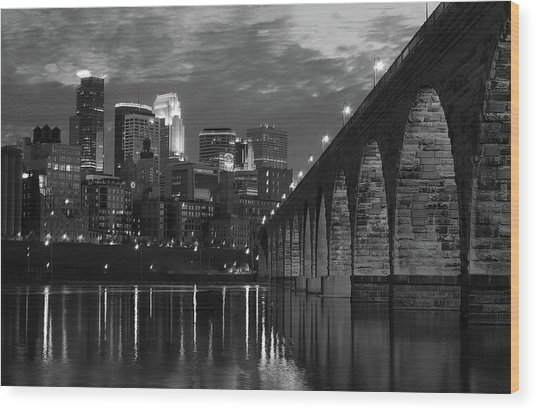 Minneapolis Stone Arch Bridge Bw Wood Print