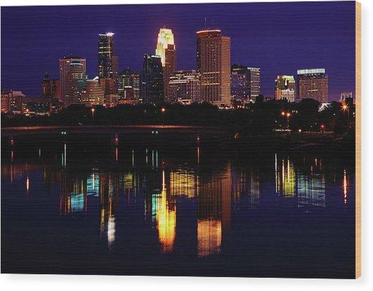 Minneapolis Twilight Wood Print