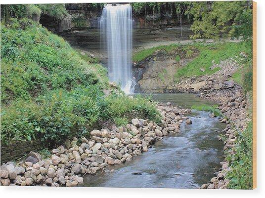 Minnehaha Falls Downstream Wood Print