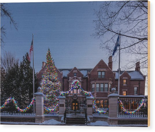 Christmas Lights Series #6 - Minnesota Governor's Mansion Wood Print
