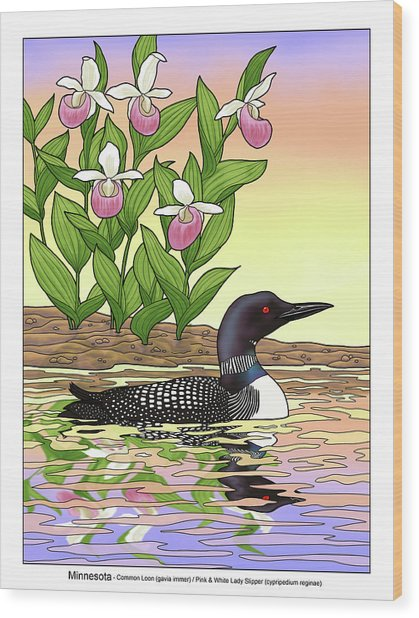 Minnesota State Bird Loon And Flower Ladyslipper Wood Print