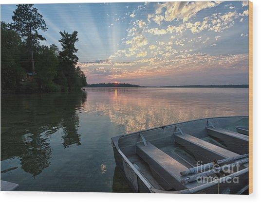 Minnesota Sunset At Deer Lake Wood Print