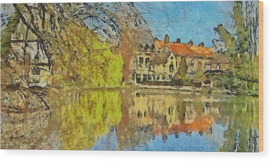 Minnewater Lake In Bruges Belgium Wood Print