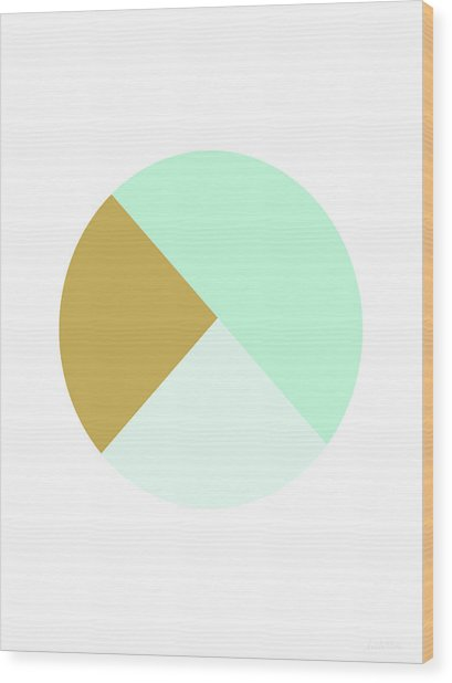 Mint And Gold Ball- By Linda Woods Wood Print