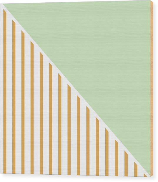 Mint And Gold Geometric Wood Print