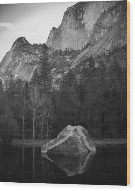 Mirror Lake Rock Wood Print