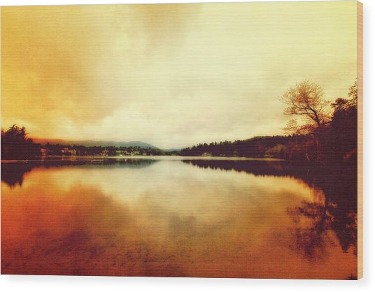 Mirror Lake At Sunset Wood Print