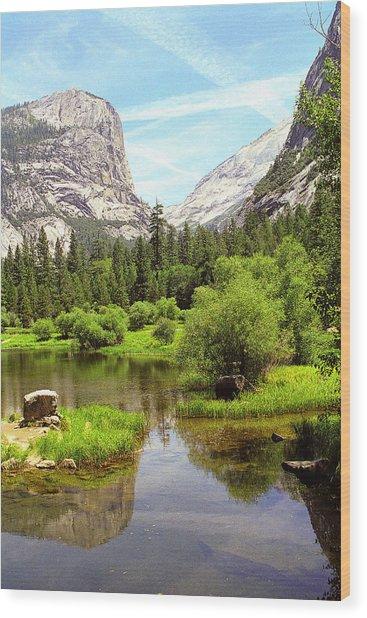 Mirror Lake Yosemite Wood Print by Alan Lenk