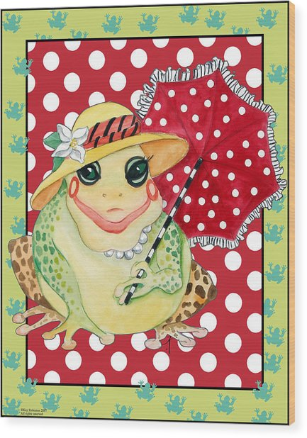 Miss Belle Frog Wood Print by Kay Robinson