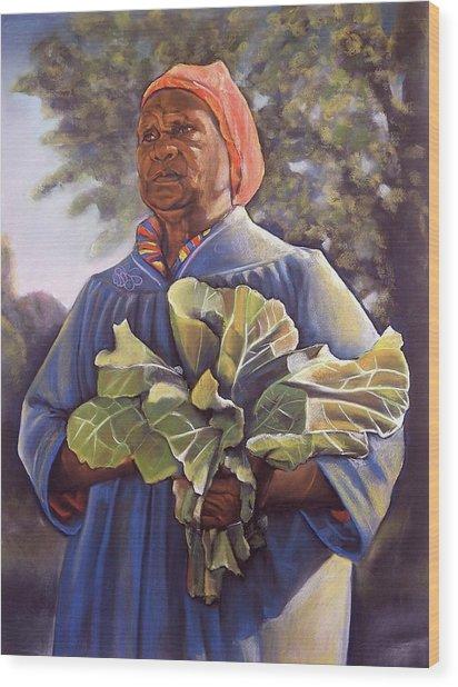 Miss Emma's Collard Greens Wood Print