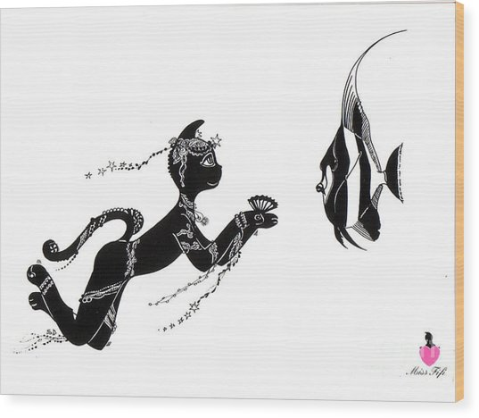 Miss Fifi And The Angel Fish Wood Print by Silvia  Duran