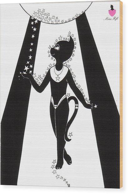 Miss Fifi Cosmic Kitten Wood Print by Silvia  Duran