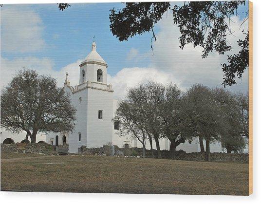 Mission At Goliad Wood Print by Teresa Blanton
