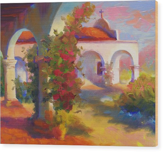 Mission Capistrano Wood Print by Maryanne  Jacobsen