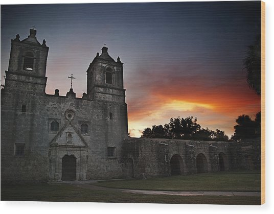 Mission Concepcion At Sunrise Wood Print