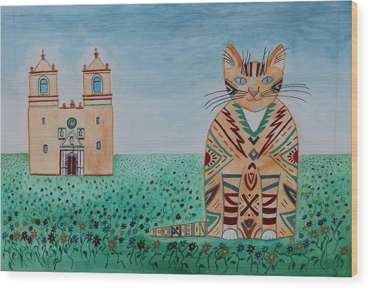 Mission Conception Cat Wood Print
