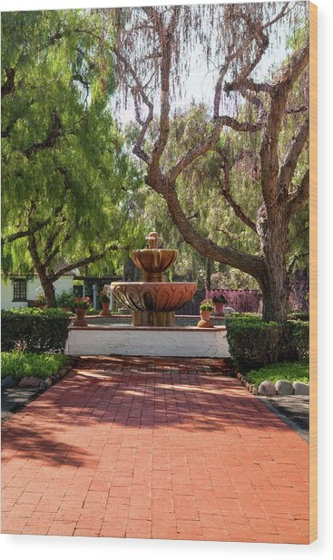 Mission Fountain Wood Print