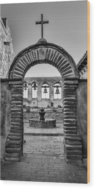 Mission Gate And Bells #3 Wood Print