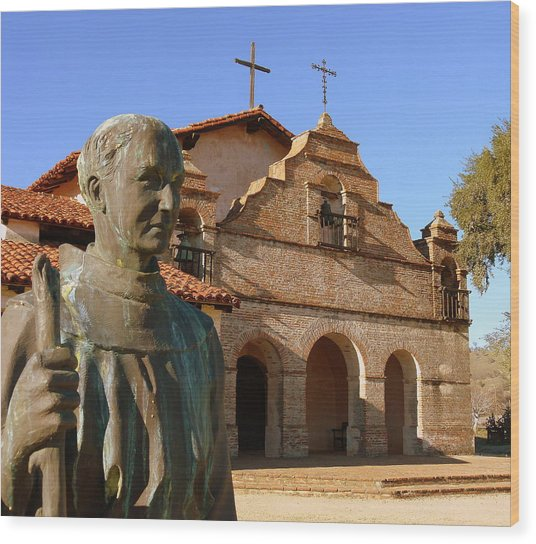 Mission San Antonio And Father Serra Wood Print
