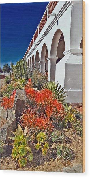 Mission San Luis Rey Garden Wood Print
