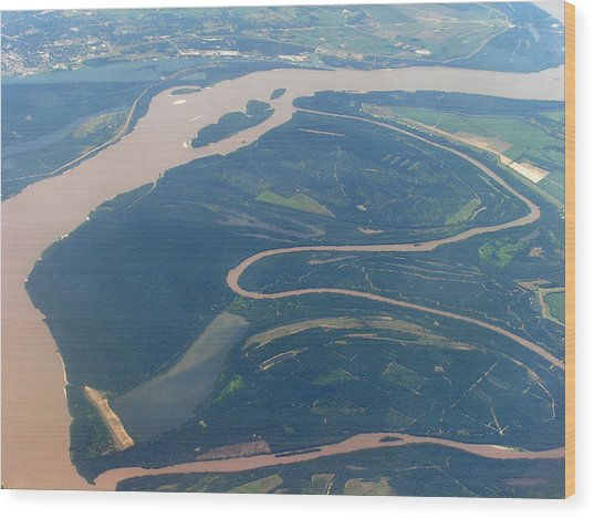 Mississippi River Aerial Shot Wood Print by Randy Muir