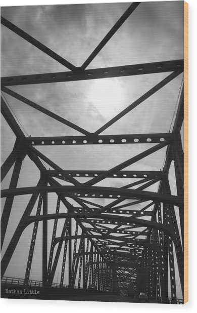Mississippi River Bridge Wood Print