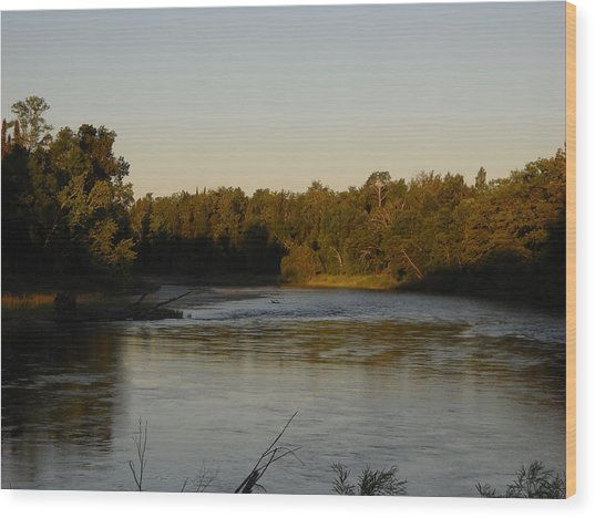 Mississippi River Morning Glow Wood Print