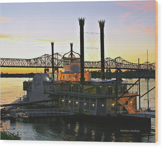 Mississippi Riverboat Sunset Wood Print