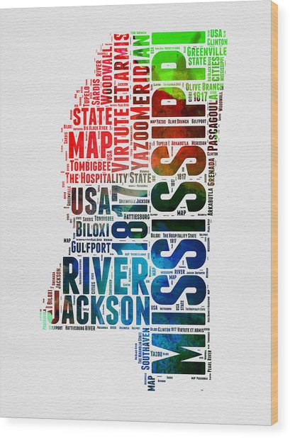 Mississippi Watercolor Word Cloud  Wood Print