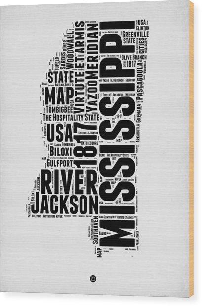 Mississippi Word Cloud 2 Wood Print