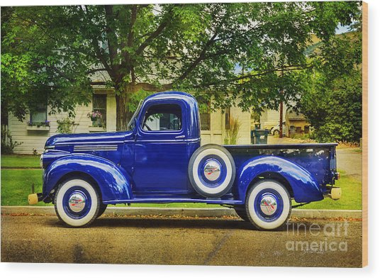 Missoula Blue Truck Wood Print